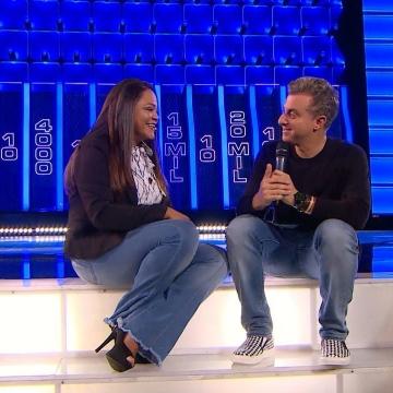 Mara Gisele participa do Caldeirão do Huck, da Rede Globo.